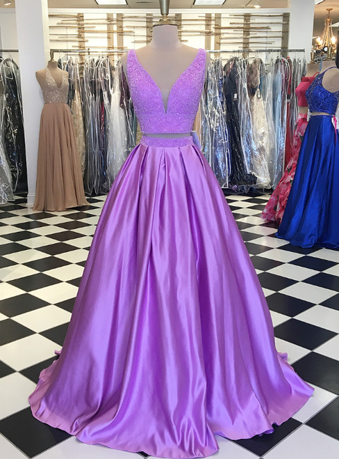 Lilac Satin V neck Two Piece Long Beaded Prom Dresses