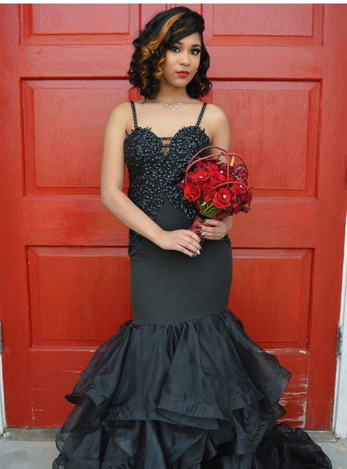 Spaghetti Strap Black Mermaid Mermaid Backless Organza Prom Dress
