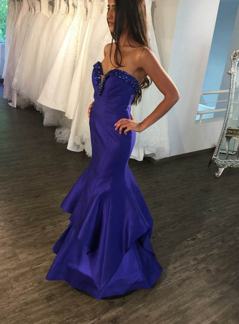 Blue Satin Sweetheart Off the Shoulder Shiny Beading Crystal Prom Dress