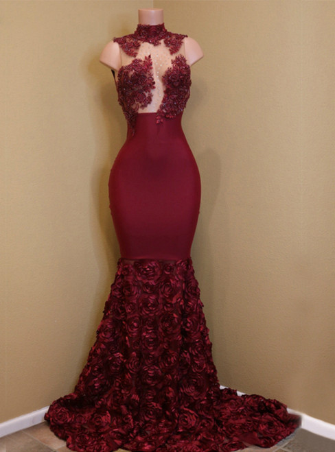 High Neck Lace Mermaid Flowers Burgundy Party Prom Dress