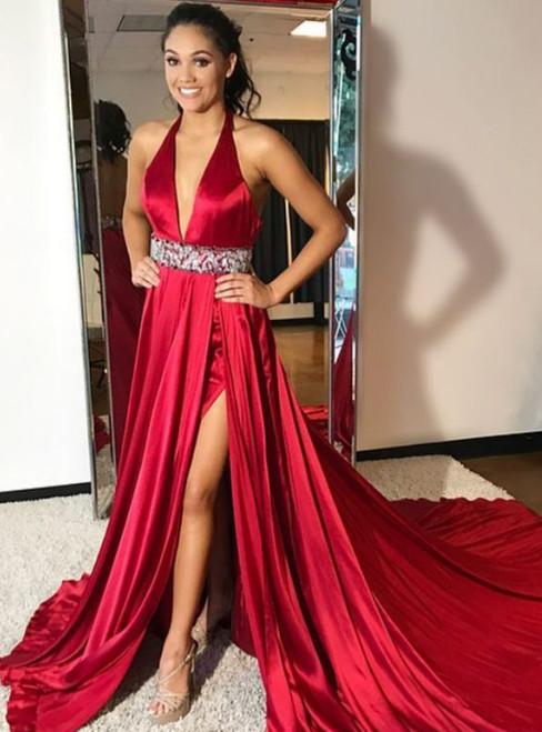 Halter Neck Long Chiffon Crystals Belt Women Prom Dresses