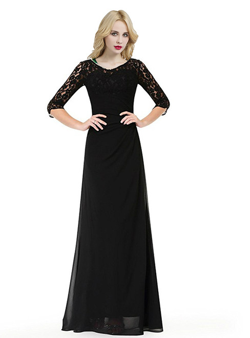 Black Long Sleeve Chiffon Lace Floor Length Bridesmaid Dress