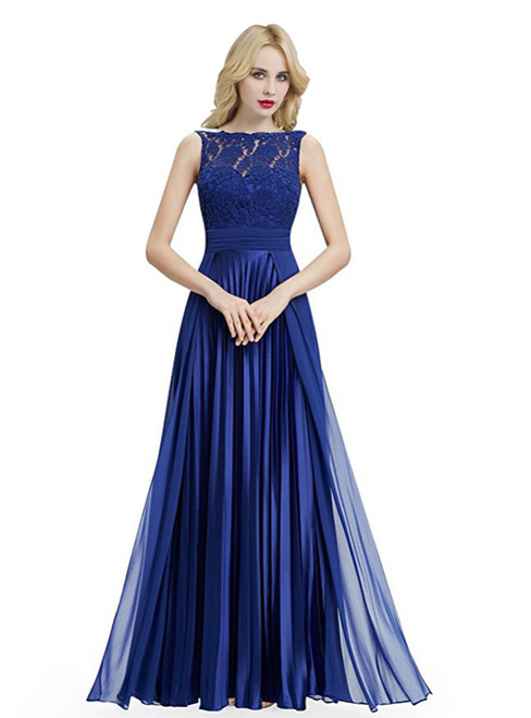 Blue Chiffon Backless Sleeveless With Pleats Bridesmaid Dress