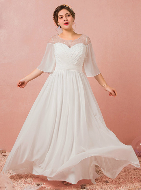 A-Line White Short Sleeve Chiffon Floor Length Wedding Dress