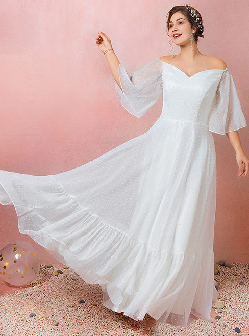 Plus Size White Chiffon Off The Shoulder Floor Length  Wedding Dress
