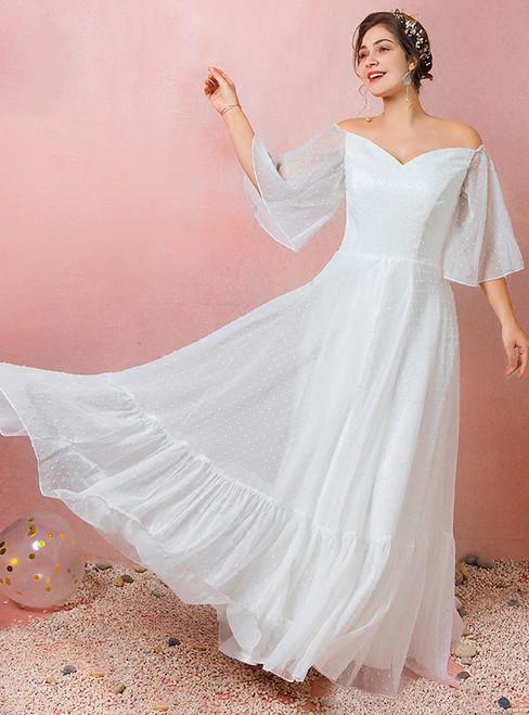 Plus Size White Chiffon Off The Shoulder Floor Length  Wedding Dress