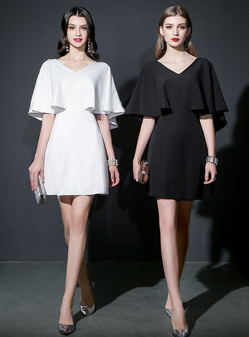 Short Knee Length V-neck Backless Chiffon Prom Dress