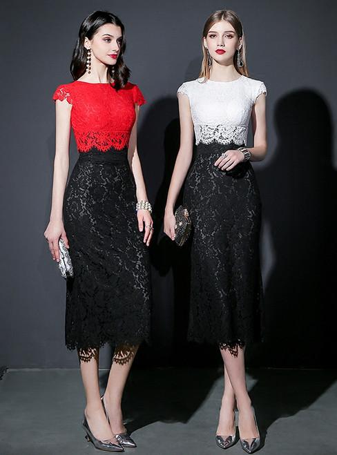 Mermaid Lace Tea Length Cap Sleeve Prom Dress