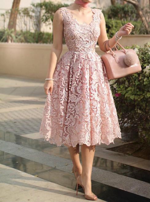 A-Line Pink Lace Tea Length Sleeveless Homecoming Dress