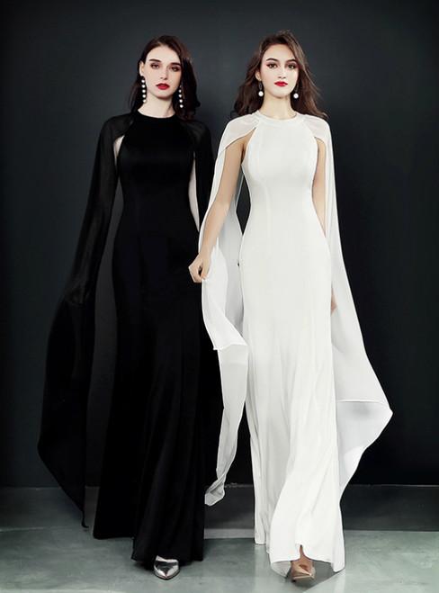 Mermaid Chiffon Floor Length White Black Prom Dress