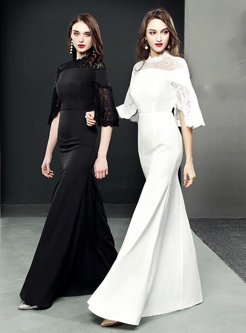 Mermaid Short Sleeve Lace Sheath Floor Length Prom Dress