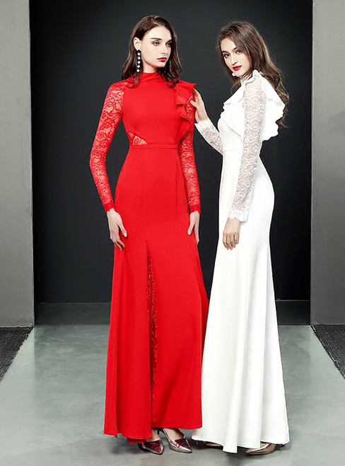 Fashion Mermaid Long Sleeve Satin Lace Prom Dress