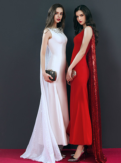 Mermaid Sequins Sleeveless Scoop Neck Prom Dress