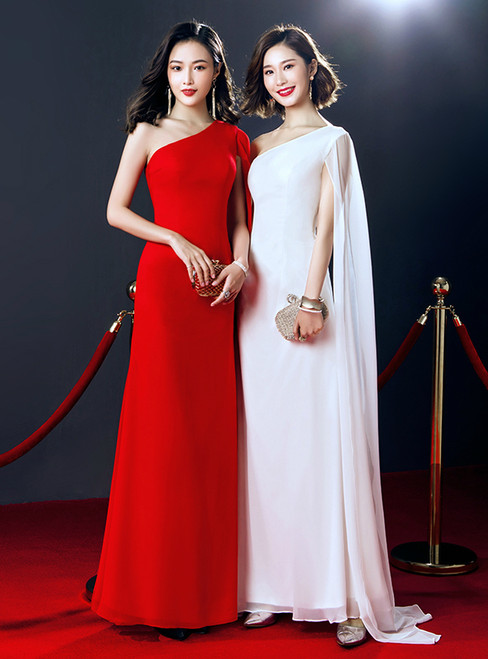 Simple One Shoulder Floor Length Prom Dress