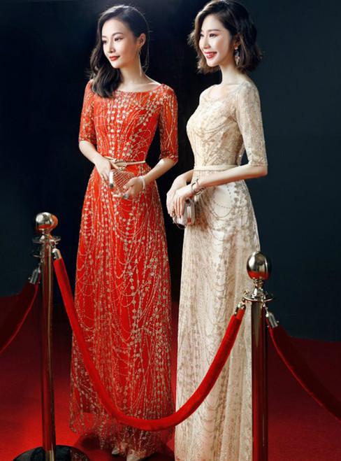 A-Line Bling Bling Short Sleeve Floor Length Prom Dress
