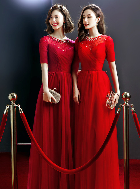 Red Tulle Short Sleeve Lace Up Beading Backless Prom Dress