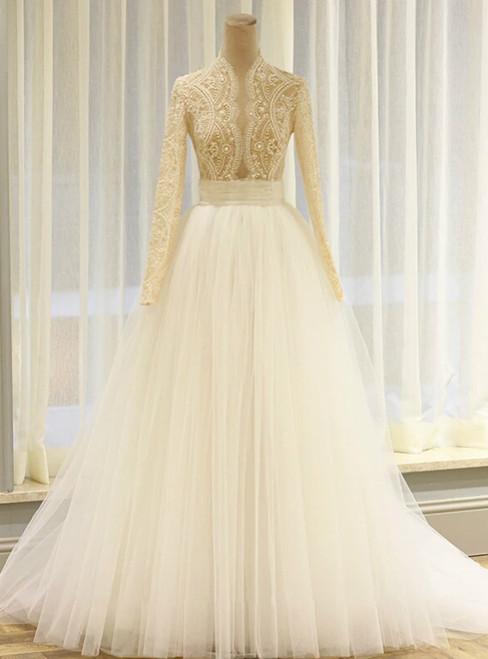 A-Line Blue Tulle Long Sleeve Deep V-neck Wedding Dress