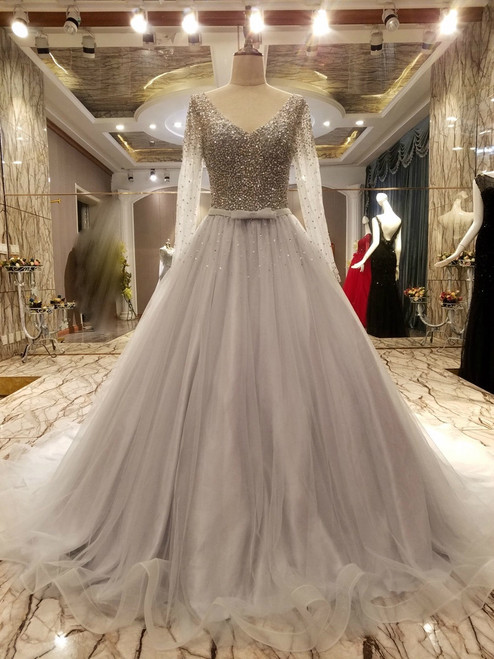 Gray V-neck Long Sleeve Backless Beading Wedding Dress
