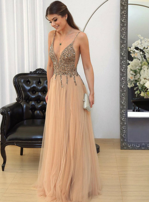 Champagne Spaghetti Straps Tulle With Beading Prom Dress