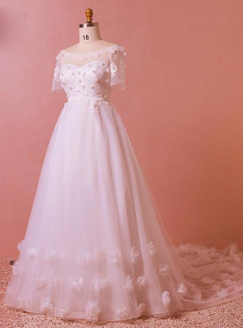 Plus Size White Short Sleeve Tulle Off The Shoulder Wedding Dress
