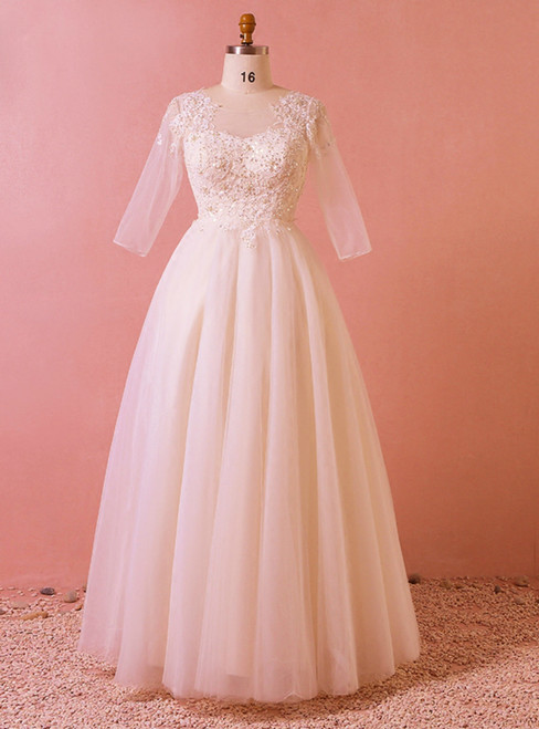 Plus Size Light Champagne Tulle Half Sleeve Backless Wedding Dress