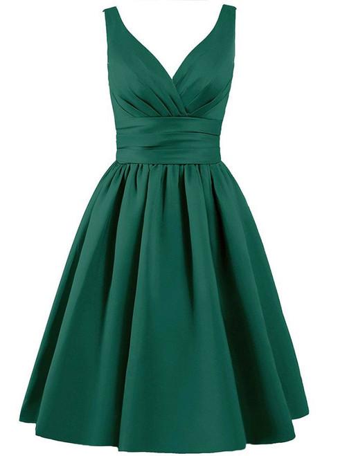 Short V-neck Satin Knee Length With Pleats Bridesmaid Dress