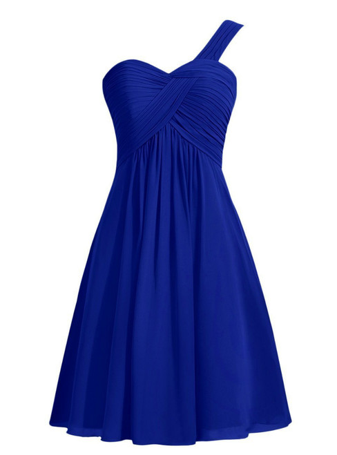 Short Chiffon One Shoulder Knee Length Pleats Bridesmaid Dress