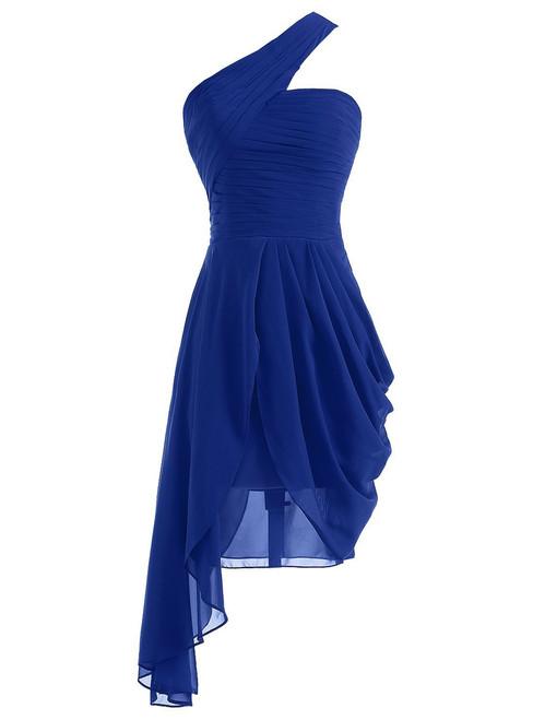 Short One Shoulder Chiffon Pleats Bridesmaid Dress