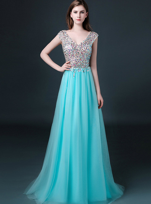 In Stock:Ship in 48 hours Ready To Ship Floor Length Blue Prom Dress