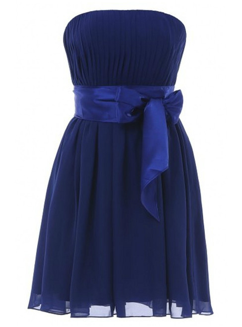 Short Chiffon Strapless Pleats Knee Length Bridesmaid Dress With Bow