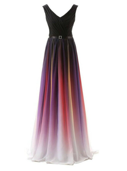 A-Line Long Floor Length Chiffon V-neck Pleats Bridesmaid Dress
