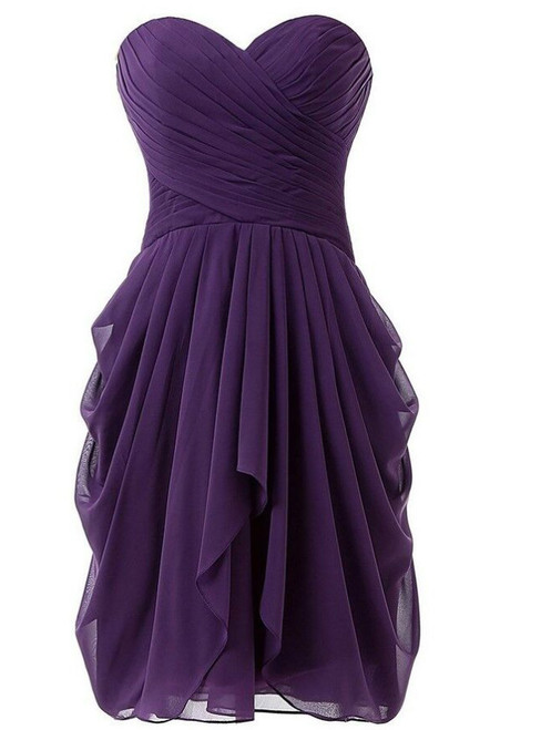 Short  Knee Length Sweetheart Chiffon Pleats Bridesmaid Dress