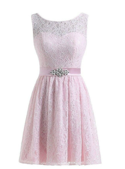 Short Lace Knee Length Sleeveless Bridesmaid Dress With Crystal