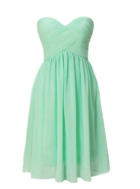 Short Green Chiffon Sweetheart Pleats Bridesmaid Dress