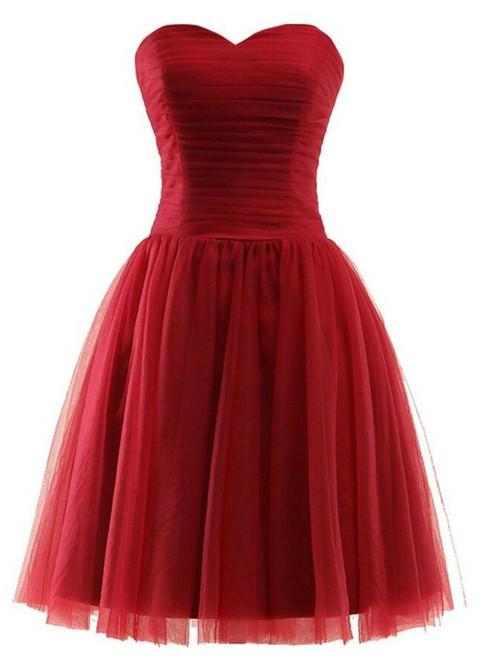 Short Tulle Sweetheart Knee Length Bridesmaid Dress