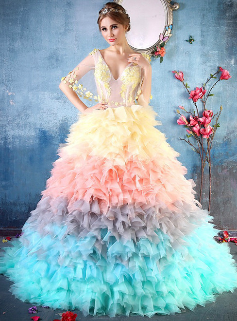 Ball Gown Colorful Tulle V-neck Backless Wedding Dress