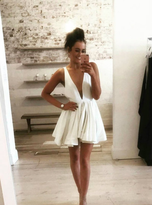 A-Line Deep V-neck Backless White Homecoming Dress Plunge Dress