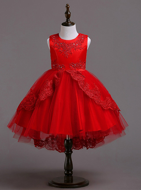 In Stock:Ship in 48 hours Ready To Ship Red Tulle Appliques Girl Dress