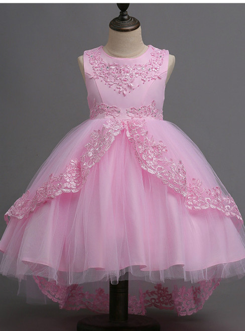 In Stock:Ship in 48 hours Ready To Ship Pink Tulle Appliques Girl Dress