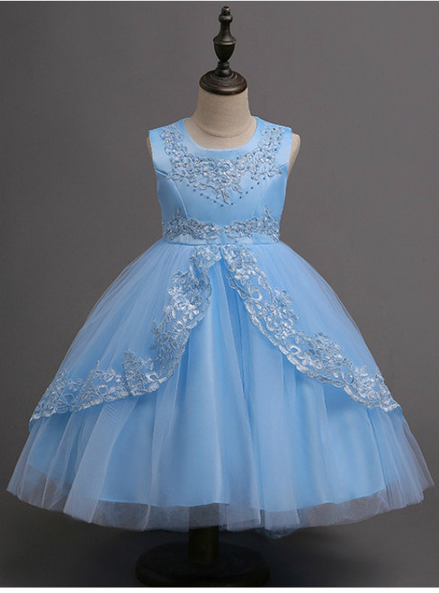 In Stock:Ship in 48 hours Ready To Ship Blue Tulle Appliques Girl Dress