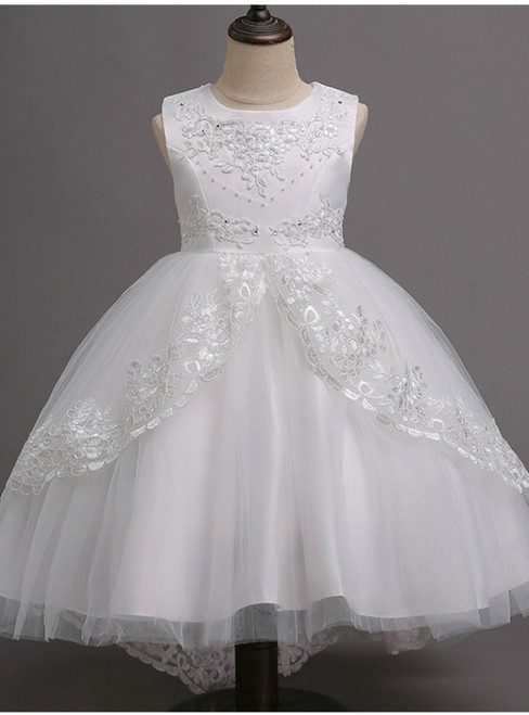 In Stock:Ship in 48 hours Ready To Ship White Tulle Appliques Girl Dress