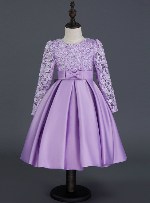 In Stock:Ship in 48 hours Ready To Ship Purple Satin Long Sleeve Girl Dress