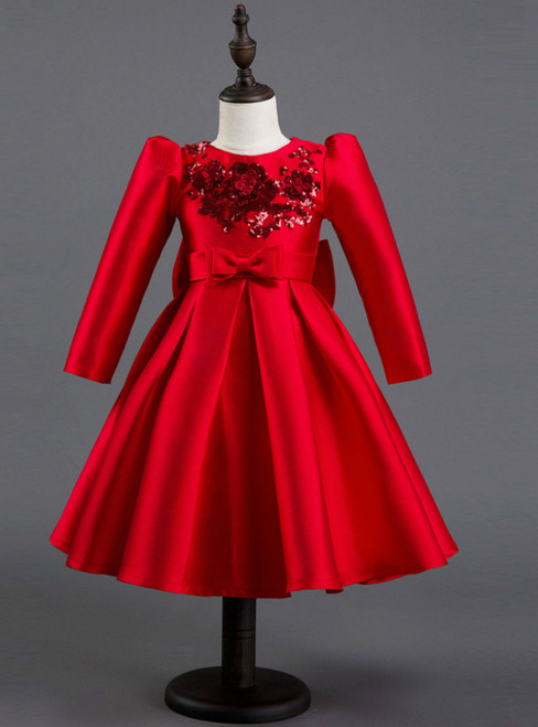 In Stock:Ship in 48 hours Ready To Ship Red Satin Long Sleeve Girl Dress