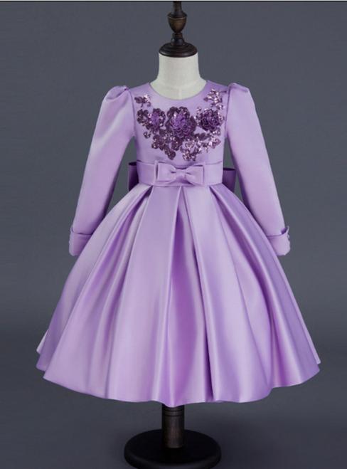 In Stock:Ship in 48 hours Ready To Wear Purple Satin Long Sleeve Girl Dress