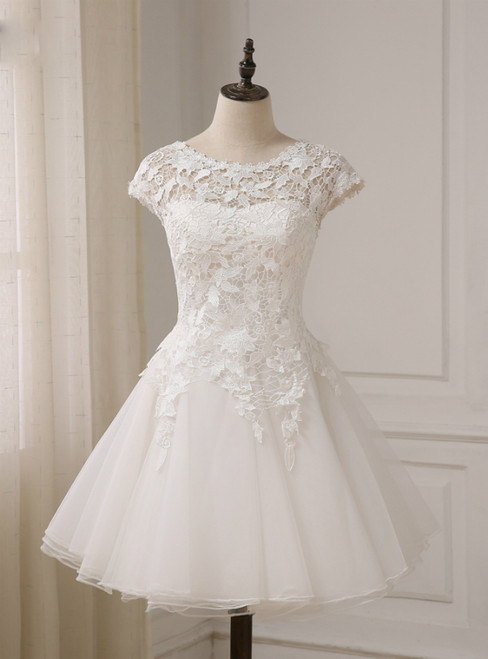 Short Sleeves Scoop Neck A-line Short Beach Bridal Gowns