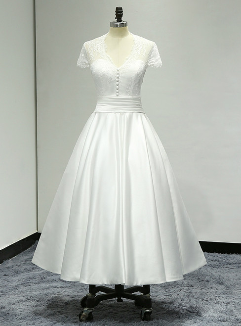 Cap Sleeve Tea Length Sheer Back Satin Short Wedding Dress