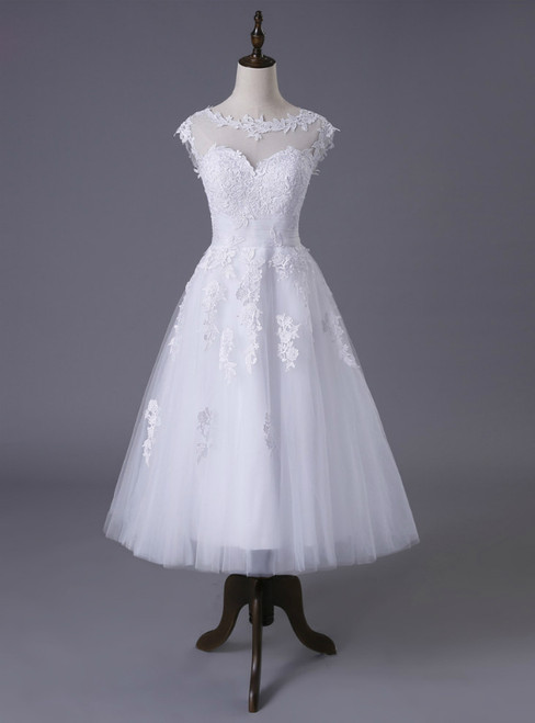 Short A-line Tea Length Tulle Appliques Lace Wedding Dresses