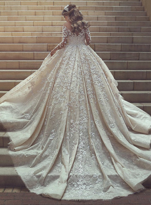 White Ball Gown Long Sleeve Appliques Train Wedding Dress