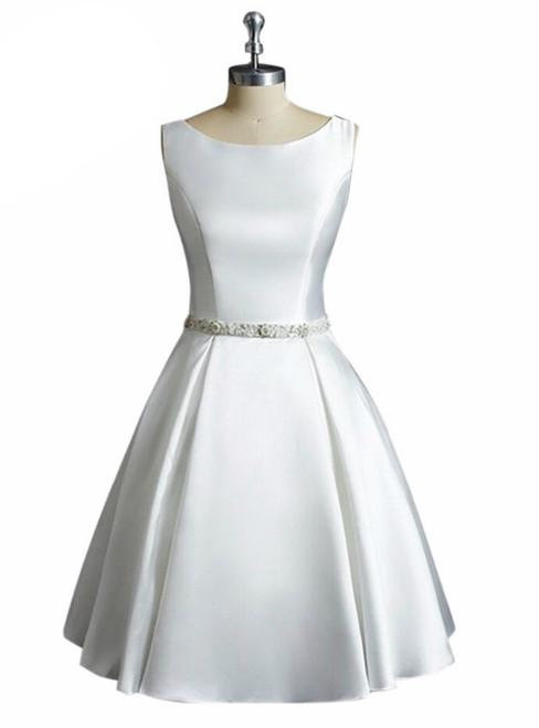 A-Line Satin Vintage White Ivory Short Wedding Dress