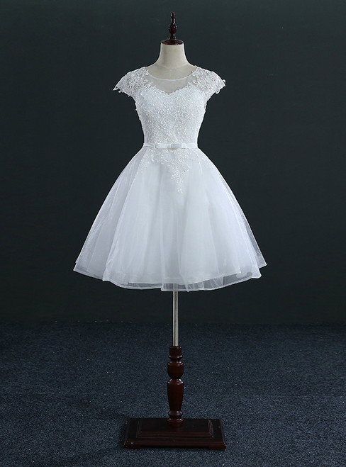 Short Knee Length Tulle Lace Cap Sleeve Wedding Dresses